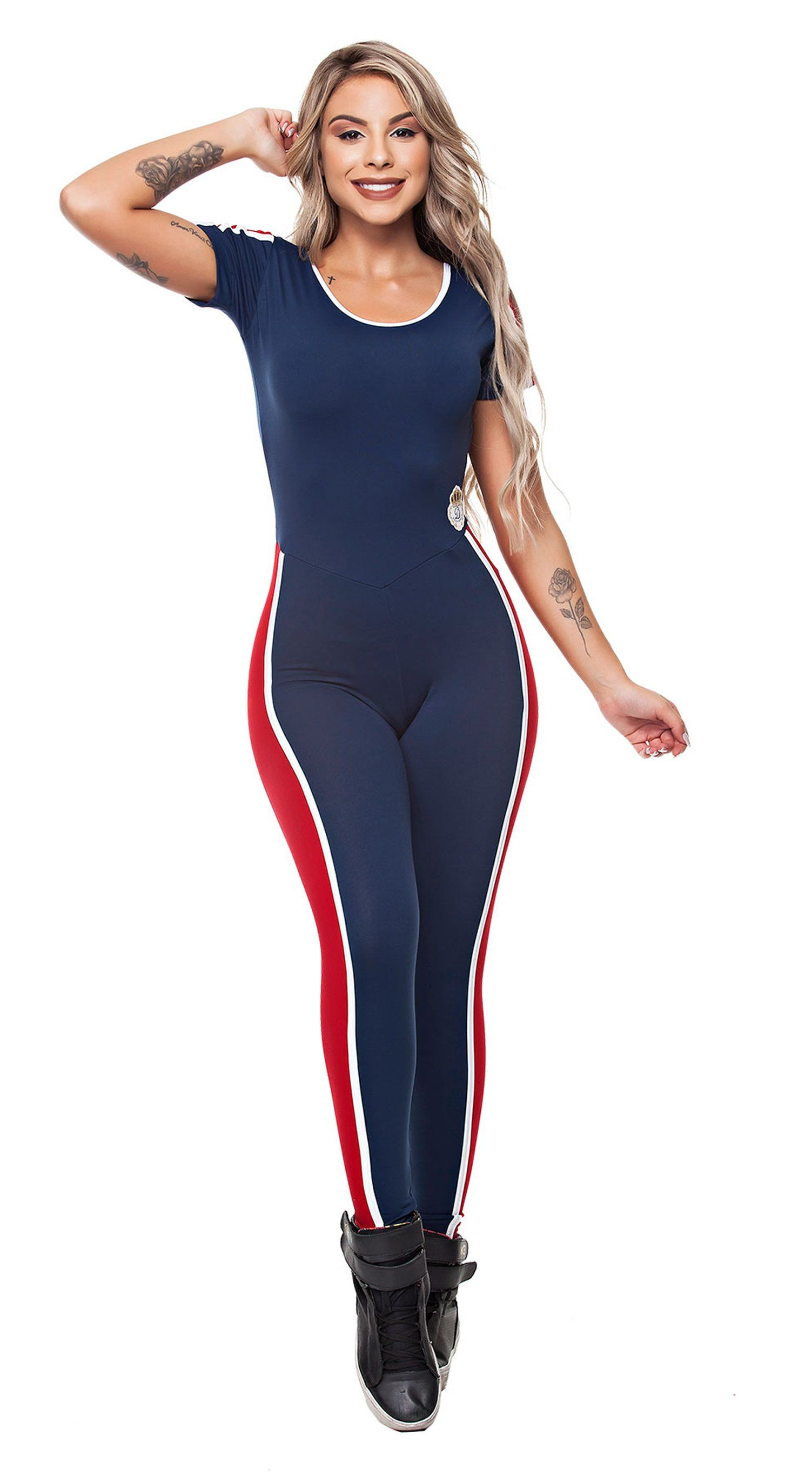 Brazilian Workout Jumpsuit - Silk Navy & Red