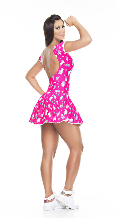 Brazilian Workout Short & Dress - Ruffle Pink