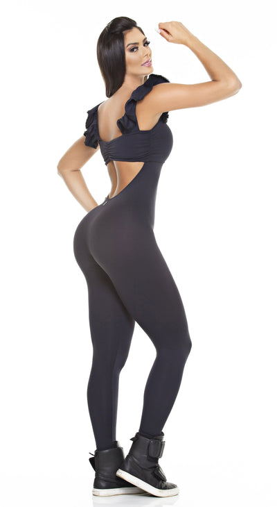 Brazilian Workout Jumpsuit -  Ruffle Black
