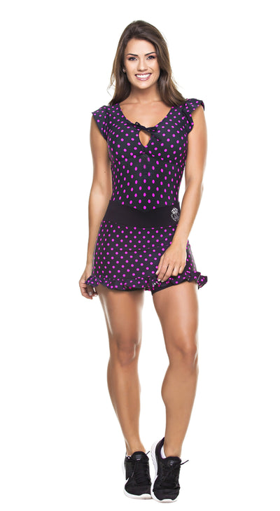 Brazilian Workout Short & Dress - Polka Dots Black & Pink
