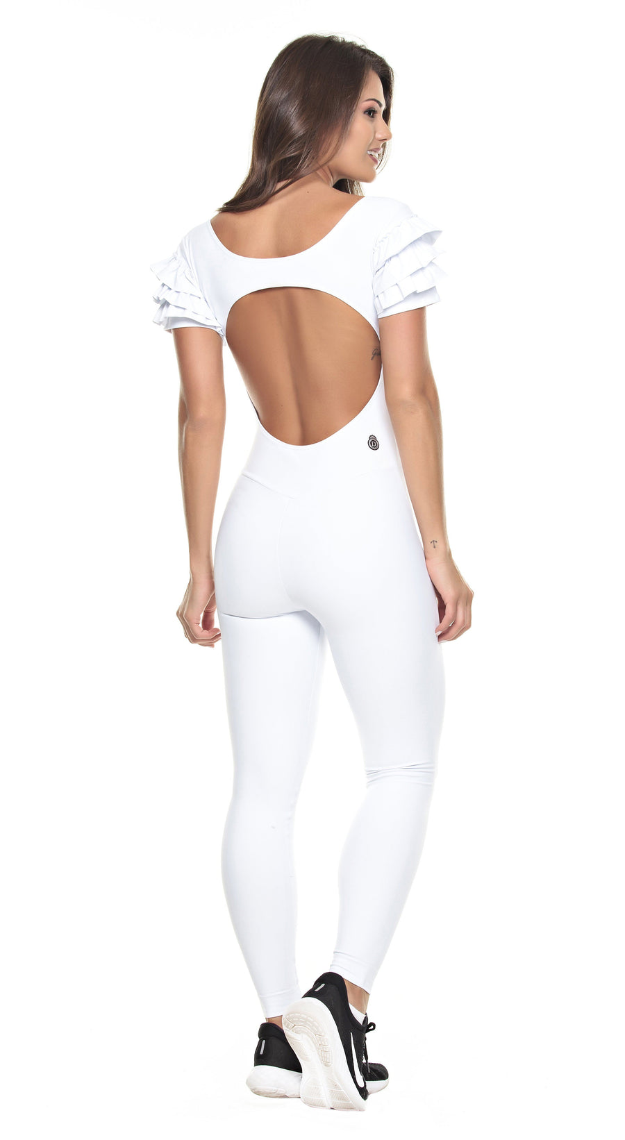 Brazilian Workout Jumpsuit - Ruffle White