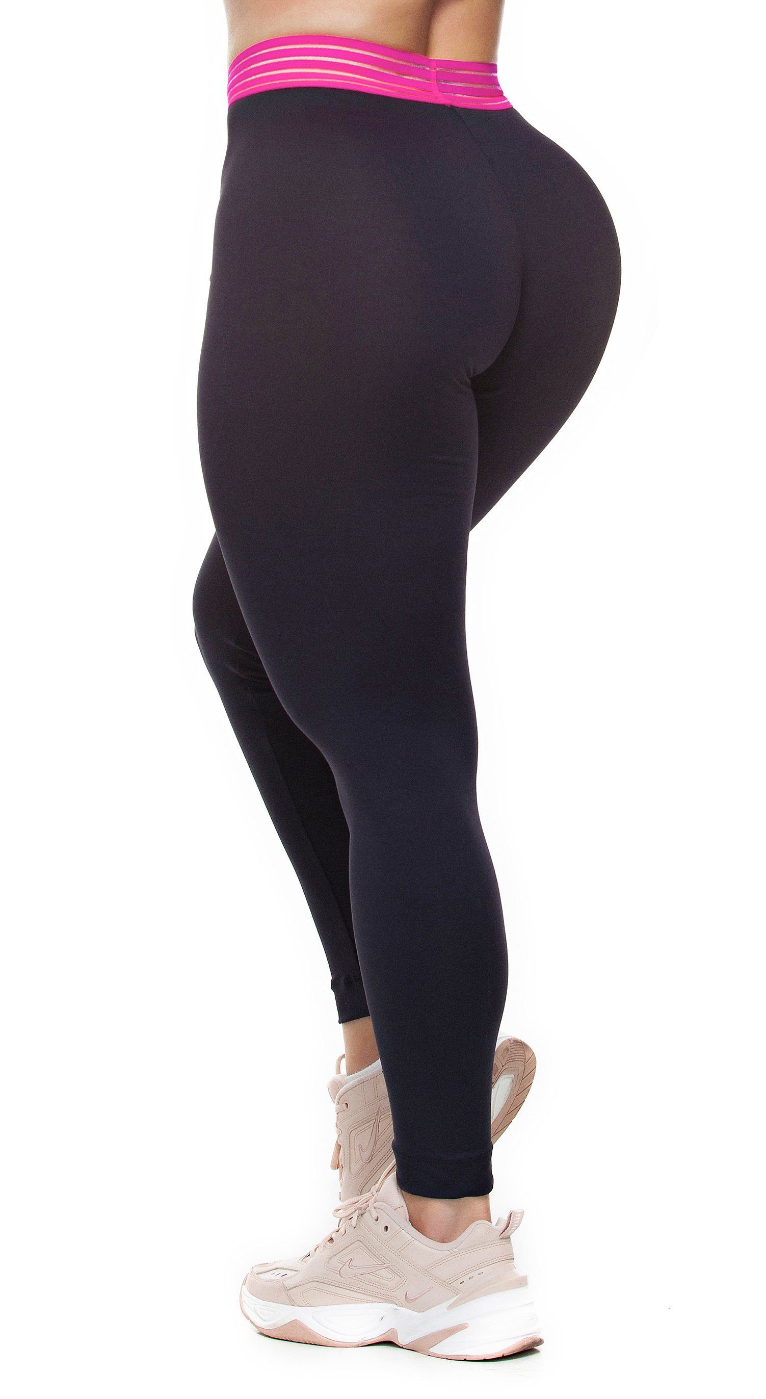 Brazilian Workout Leggings - Fusion Black & Hot Pink