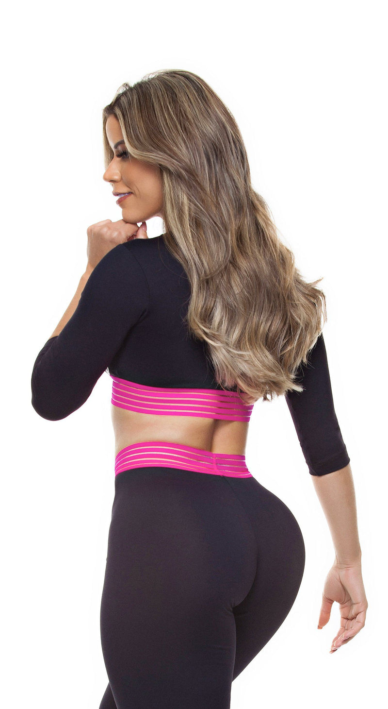 Brazilian Sports Top - Top Cropped Crisscross Fusion Black & Pink