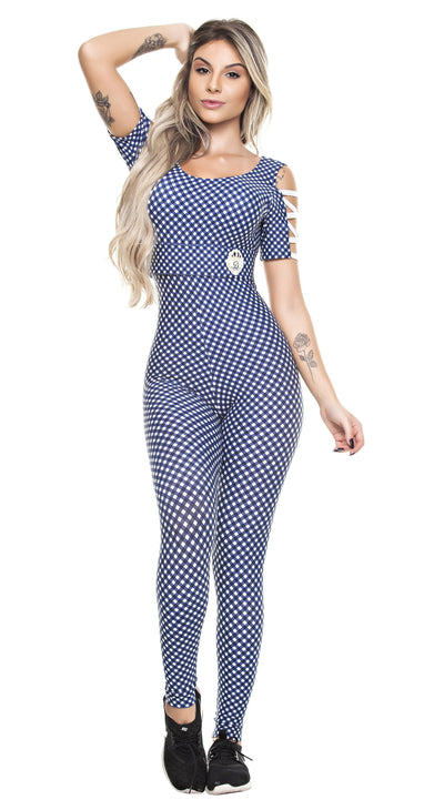Brazilian Workout Jumpsuit - Stripes & Plaid Navy/White Bodysuit