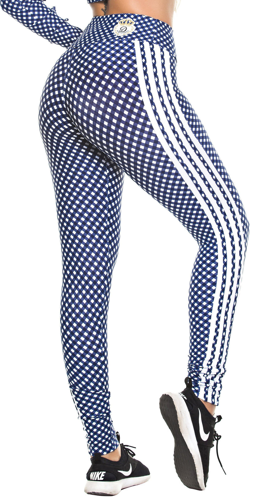 Workout Legging -  High Waist Stripes & Plaid Navy/White