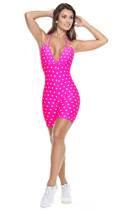 Brazilian Workout Short Jumpsuit - Hot Pink in Polka Dots