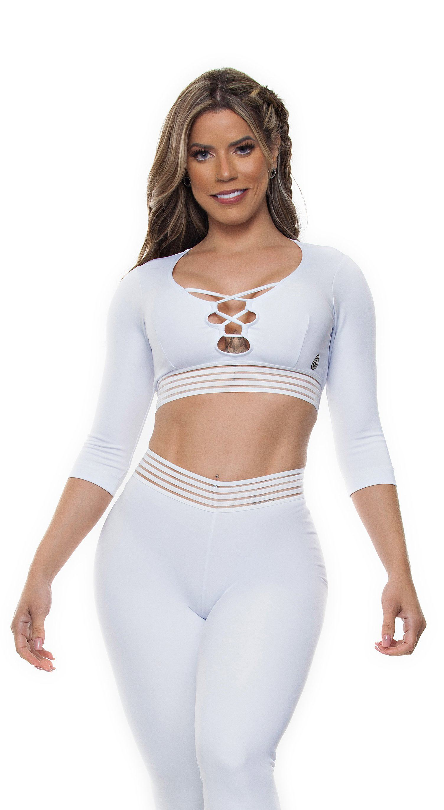 Brazilian Sports Top - Top Cropped Crisscross Fusion White