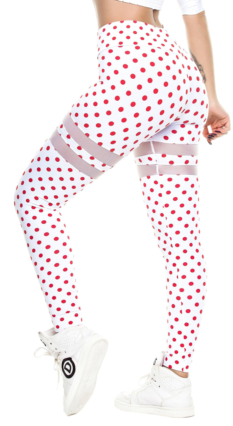 Workout Legging -  V Cut Polka Dots Red & White