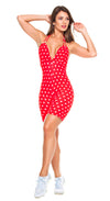 Brazilian Workout Short Jumpsuit - Red in Polka Dots