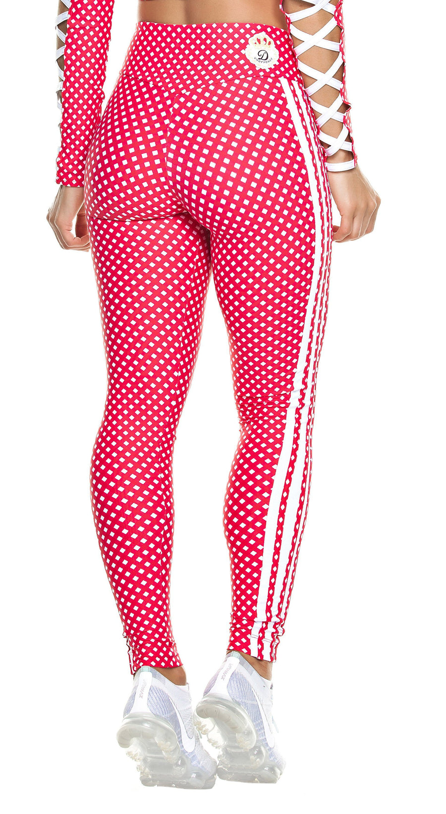 Workout Legging -  High Waist Stripes & Plaid Red/White