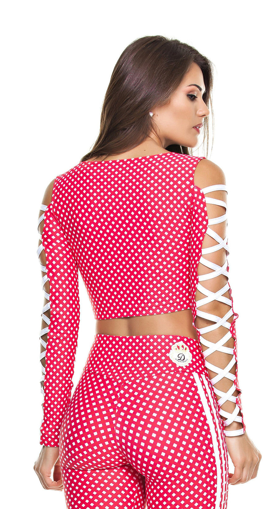 Brazilian Sports Top - Top Cropped Stripes & Plaid Red/White