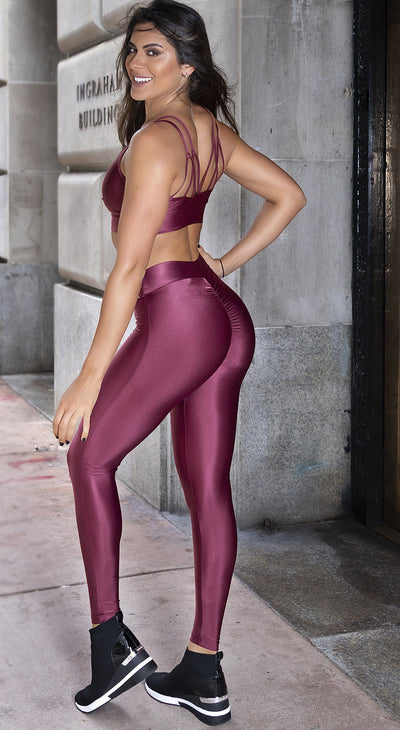 Brazilian Workout Legging - SoBe Scrunch Booty Marsala