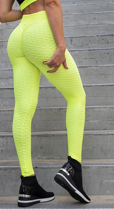 Anti Cellulite Textured Scrunch Booty Neon Yellow Leggings