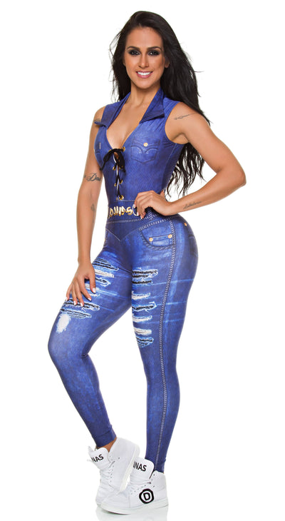 Brazilian Workout Jumpsuit -  Digital  Dark Jeans Print