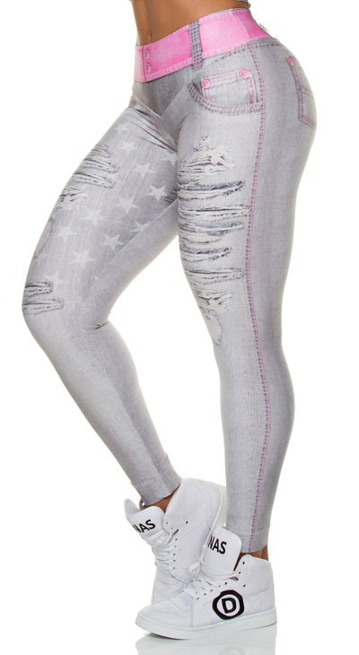 Brazilian Jegging - Fake Jeans Star Gray Legging