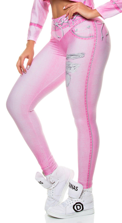 Brazilian Jegging - Fake Jeans Pink Legging