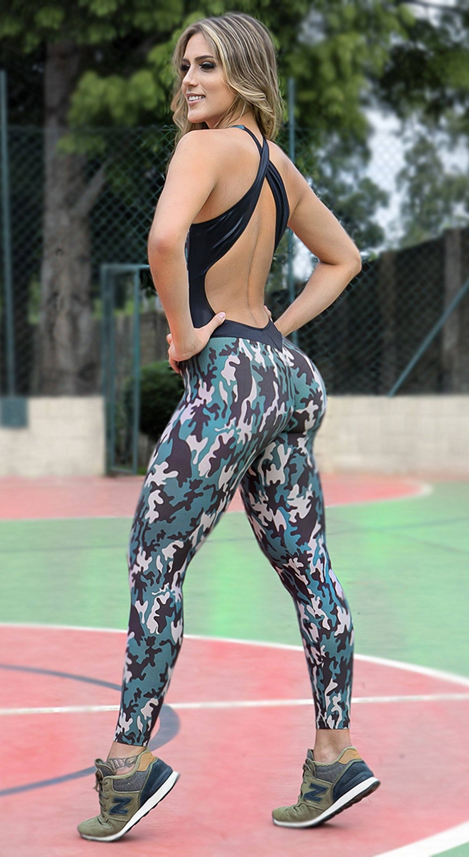Brazilian Workout Jumpsuit  -  Scrunch Booty Camouflage Print