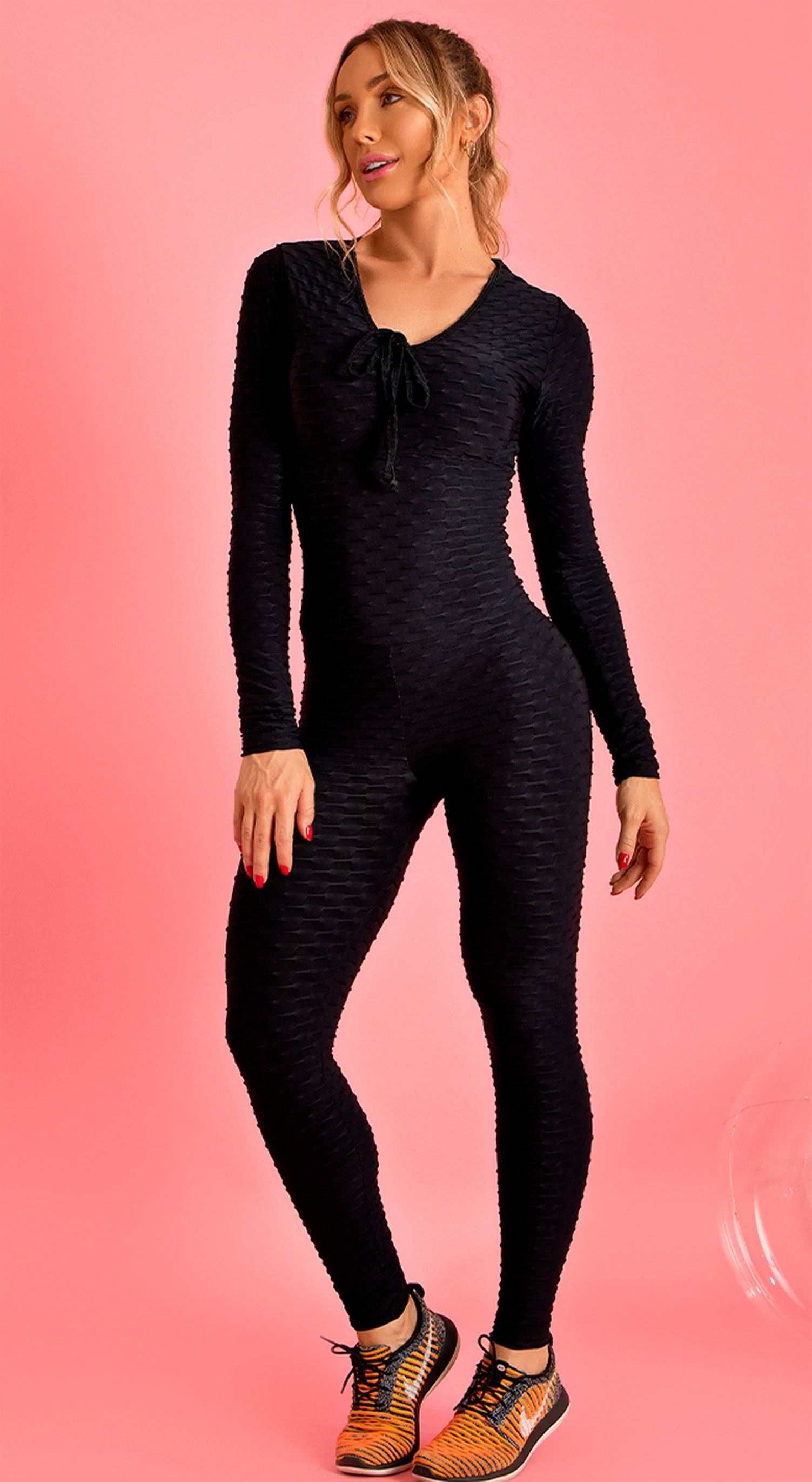 Long Sleeve Scrunch Booty One Piece - Black