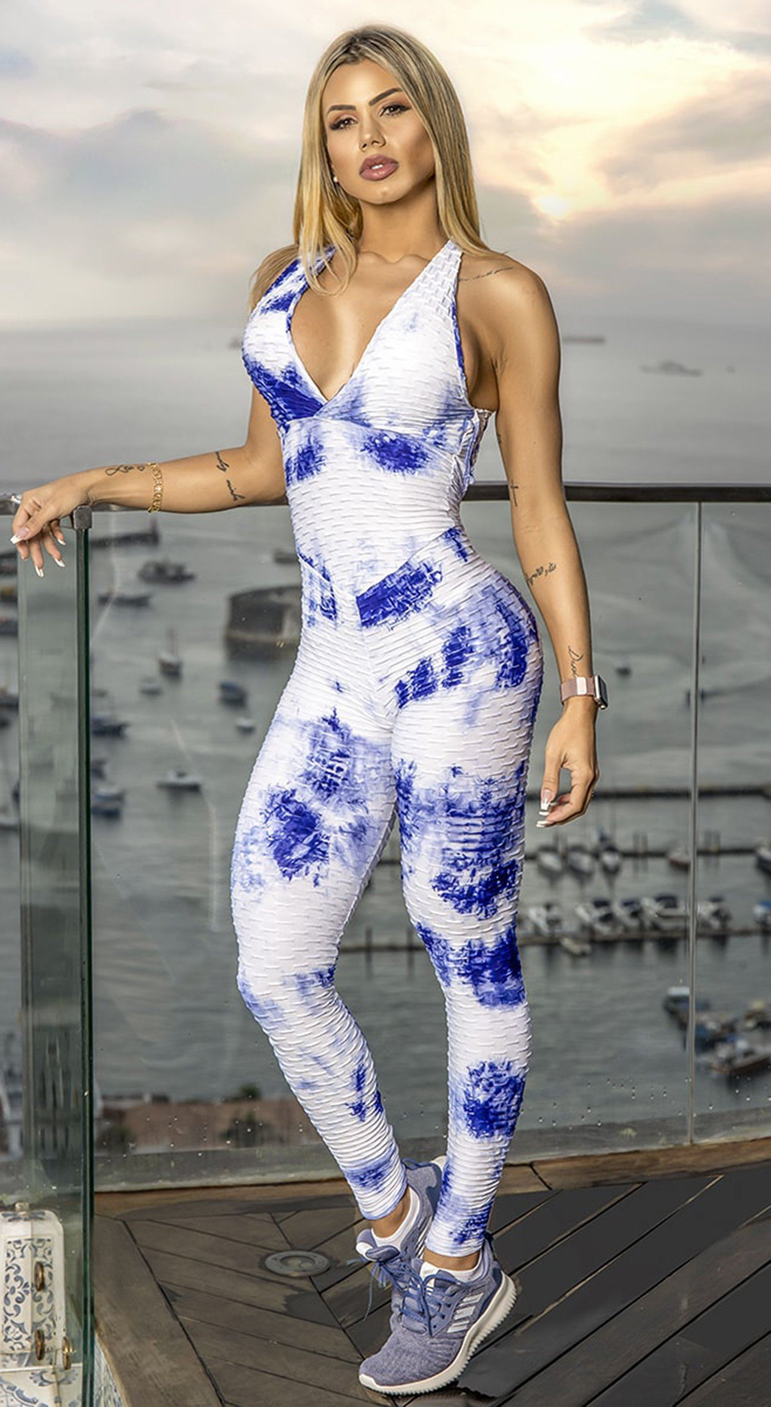 Fitness Jumpsuit - Honeycomb Scrunch Booty Tie Dye Blue & White