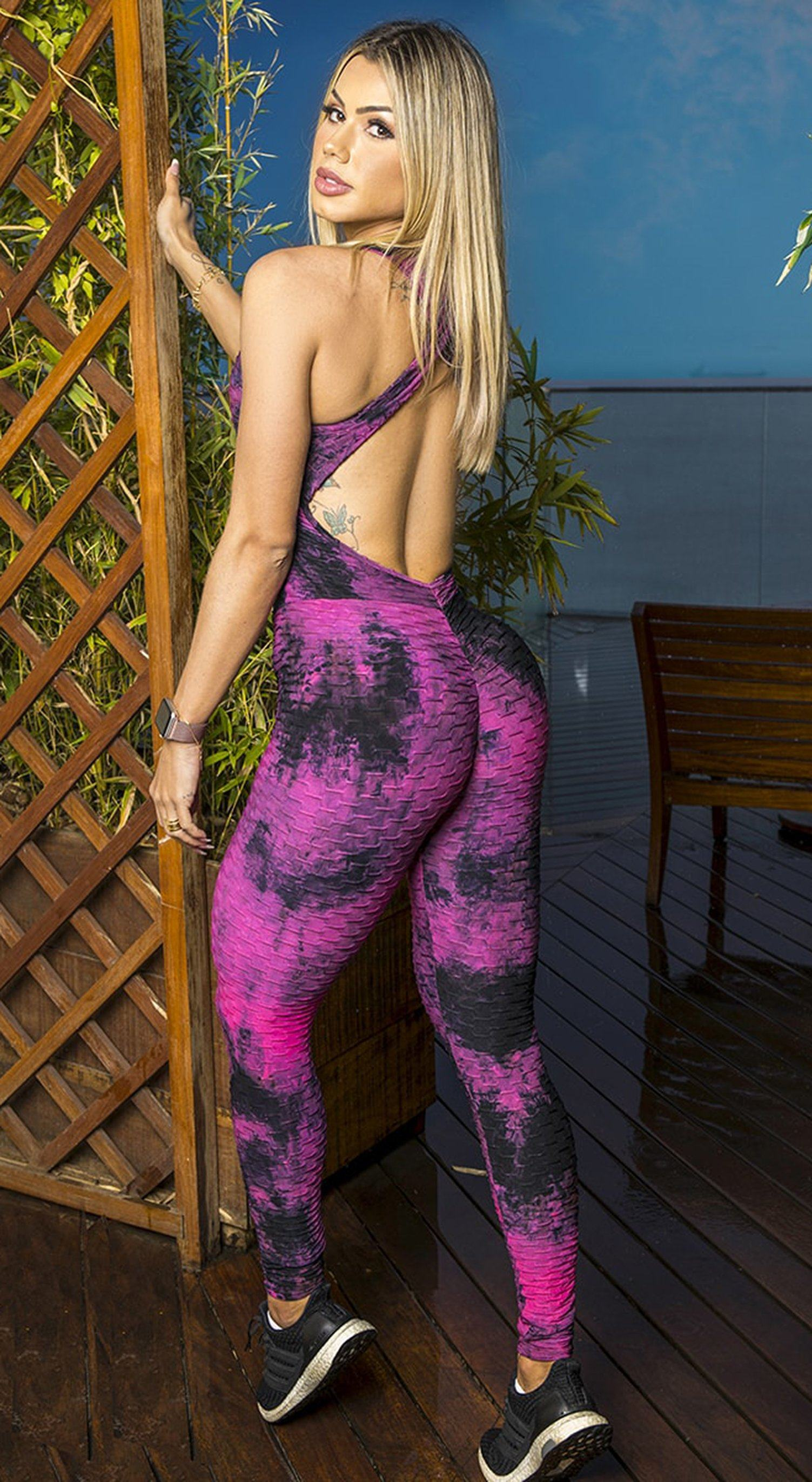 Fitness Jumpsuit - Honeycomb Scrunch Booty Tie Dye Pink & Black