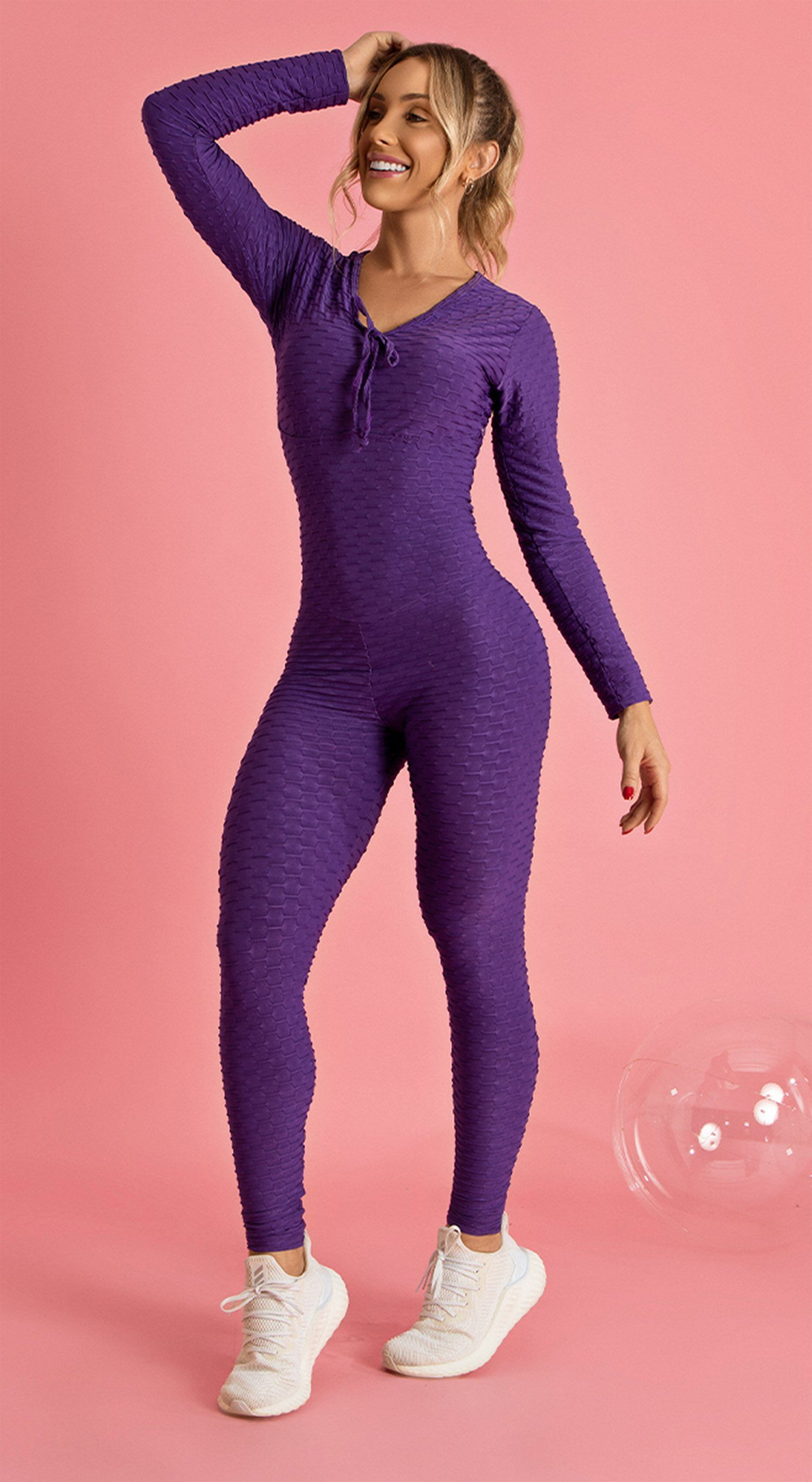 Long Sleeve Scrunch Booty One Piece - Purple