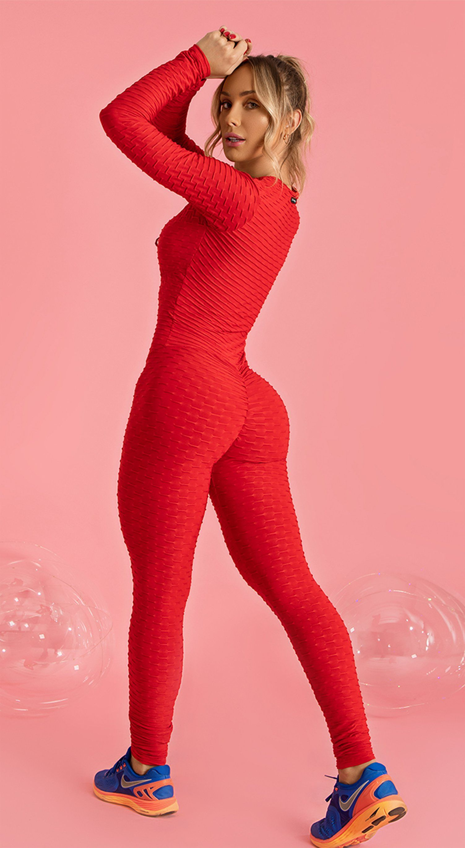Long Sleeve Scrunch Booty One Piece - Red