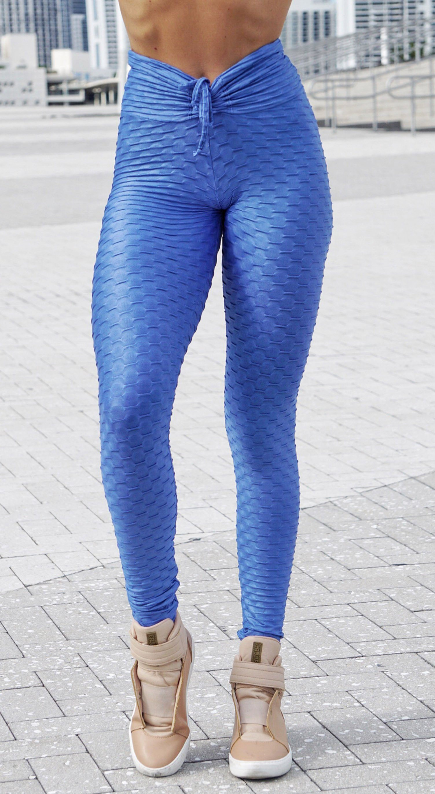 High Waist Zero Flaws Textured Shiny Royal Blue Leggings