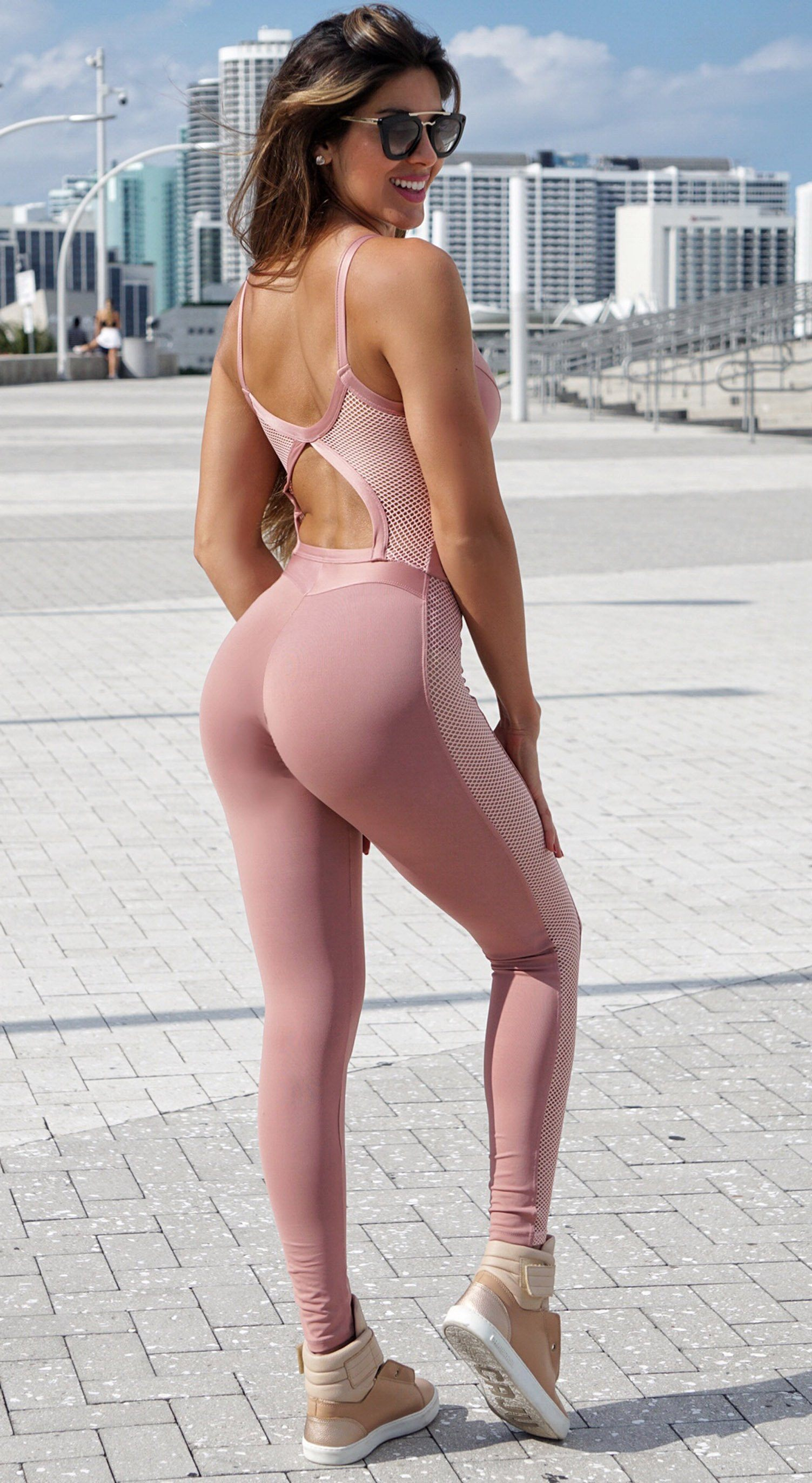 Brazilian Fitness Jumpsuit - NZ Queen Nude Pink