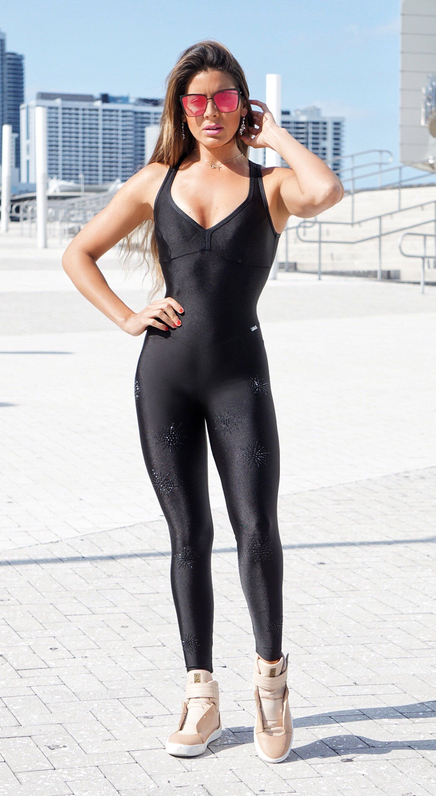 Brazilian Fitness Jumpsuit - Stunning Black