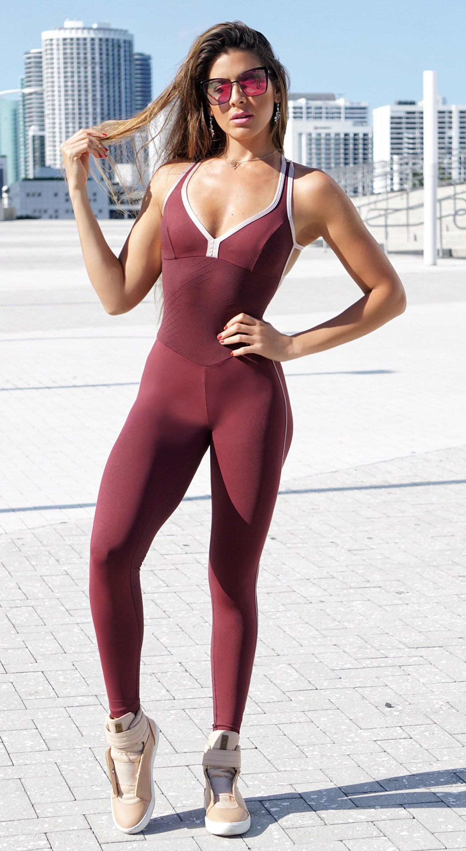 Brazilian Fitness Jumpsuit - Stone Dark-Red