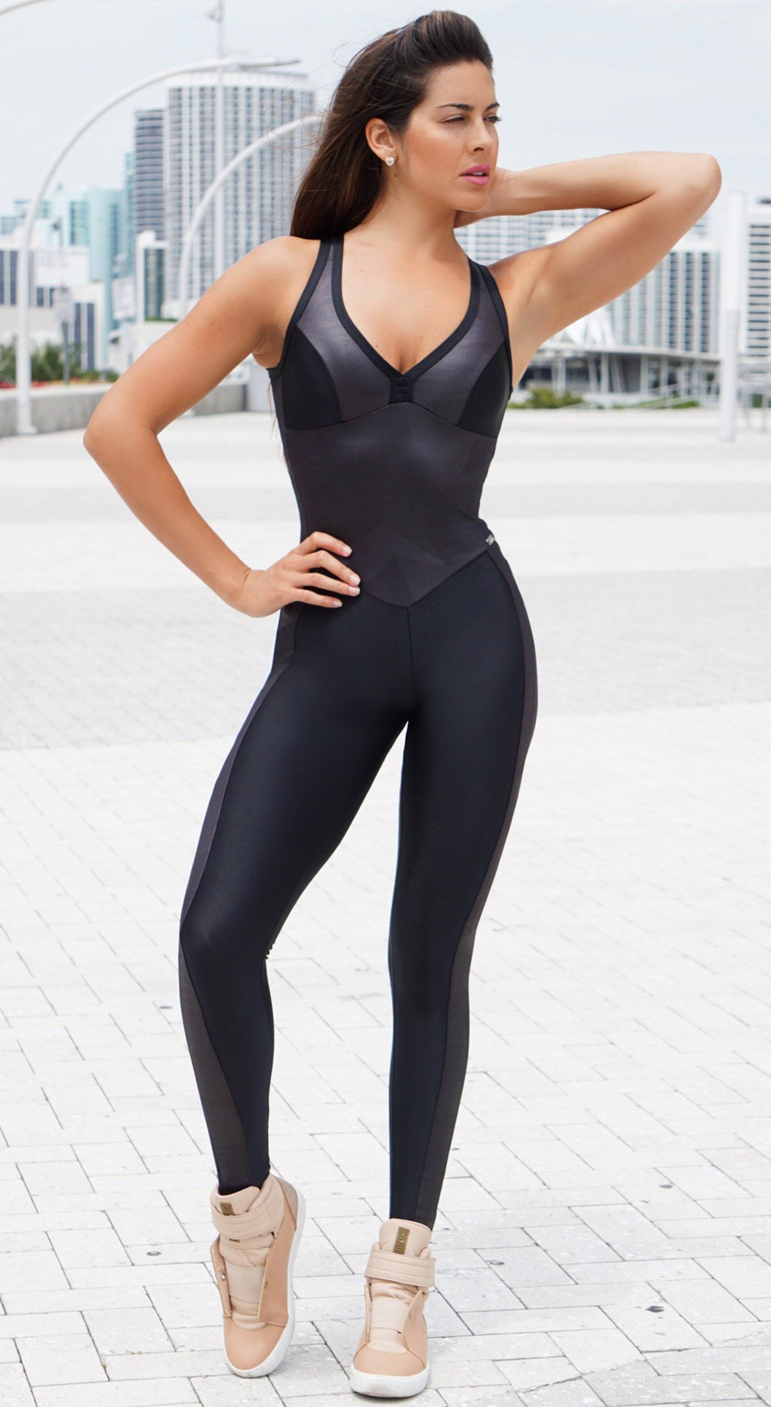 Brazilian Fitness Jumpsuit - Geometric Black