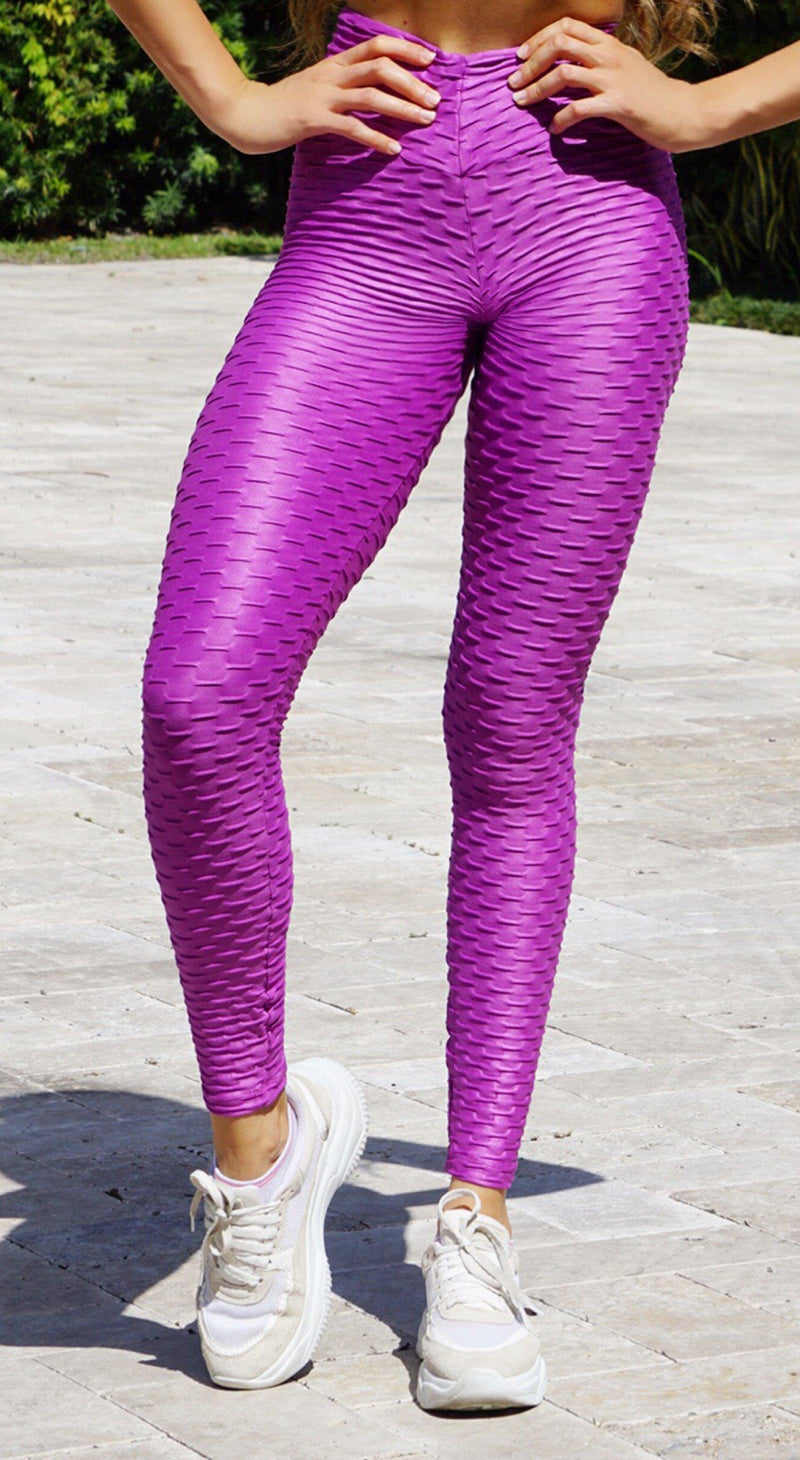 Brazilian Legging |  Anti Cellulite Honeycomb Textured Scrunch Booty Shinny Grape