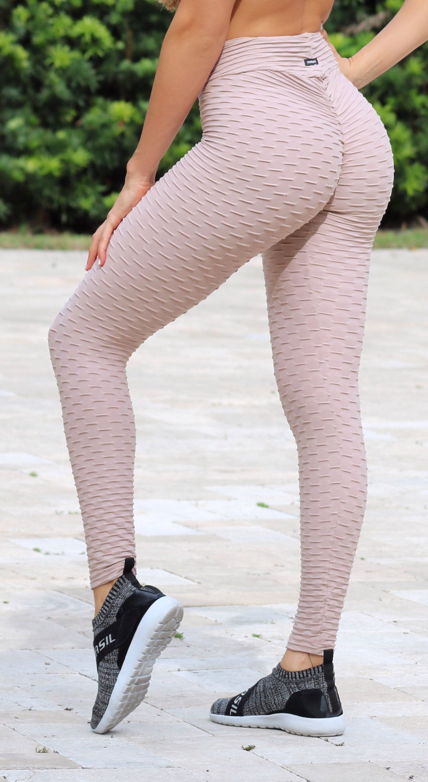 Anti Cellulite Honeycomb Textured Scrunch Booty Misty Rose Leggings