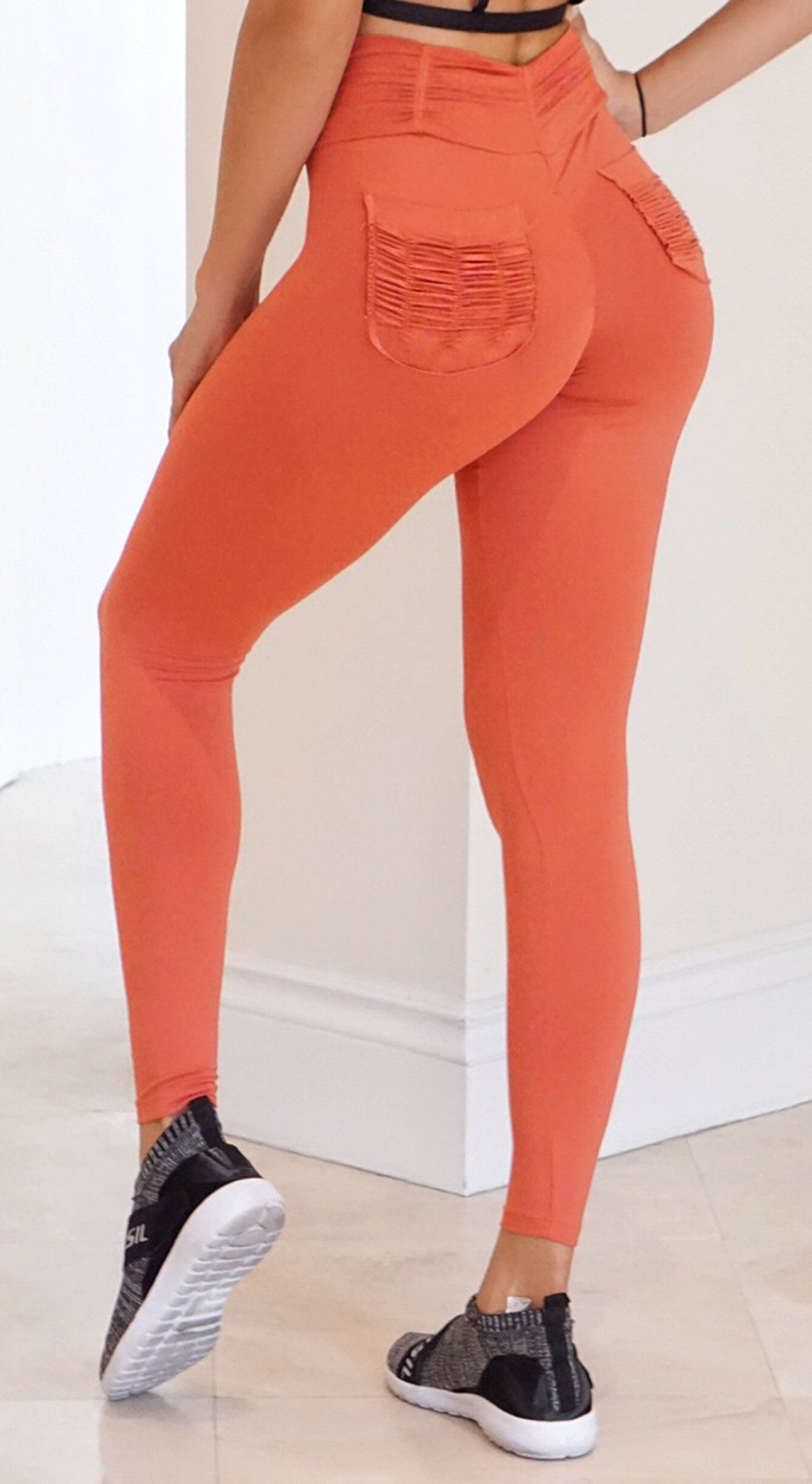 Brazilian Workout Legging - Booty Up Pockets Orange