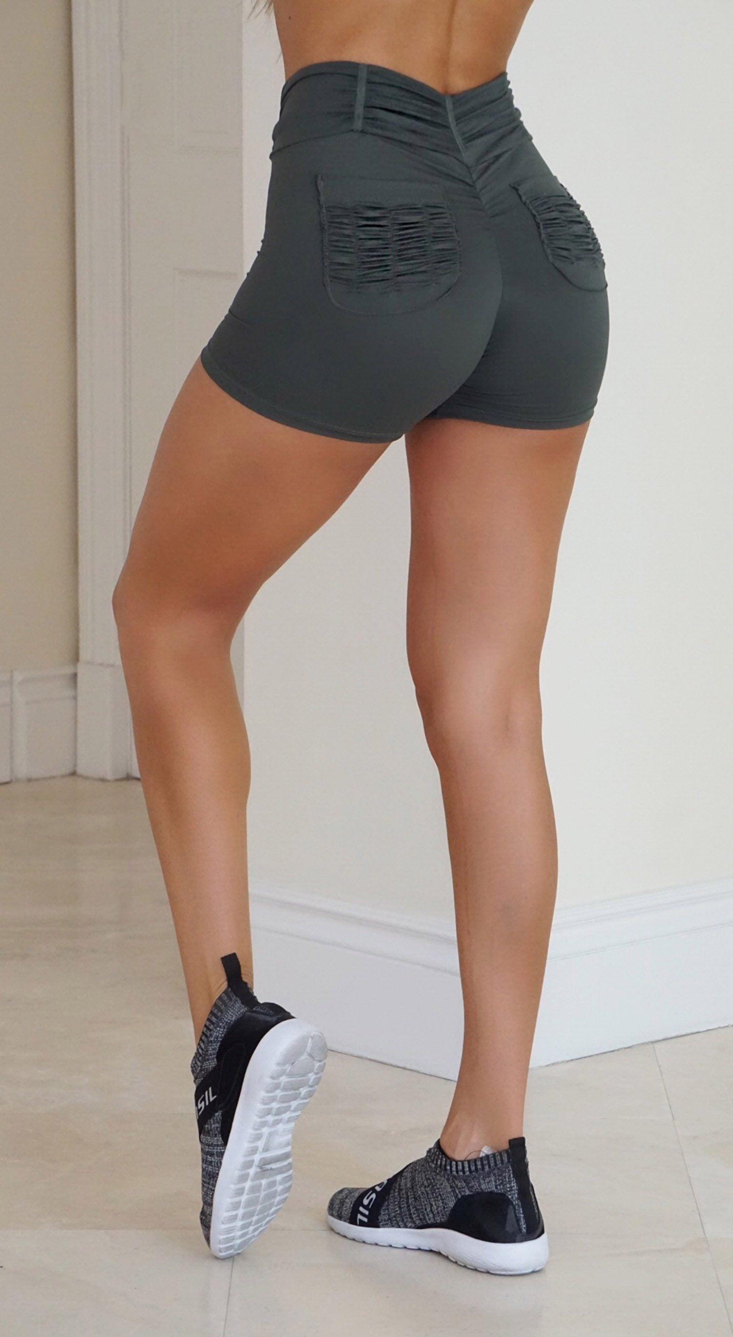 Brazilian Workout Shorts - Booty Up Pockets Green