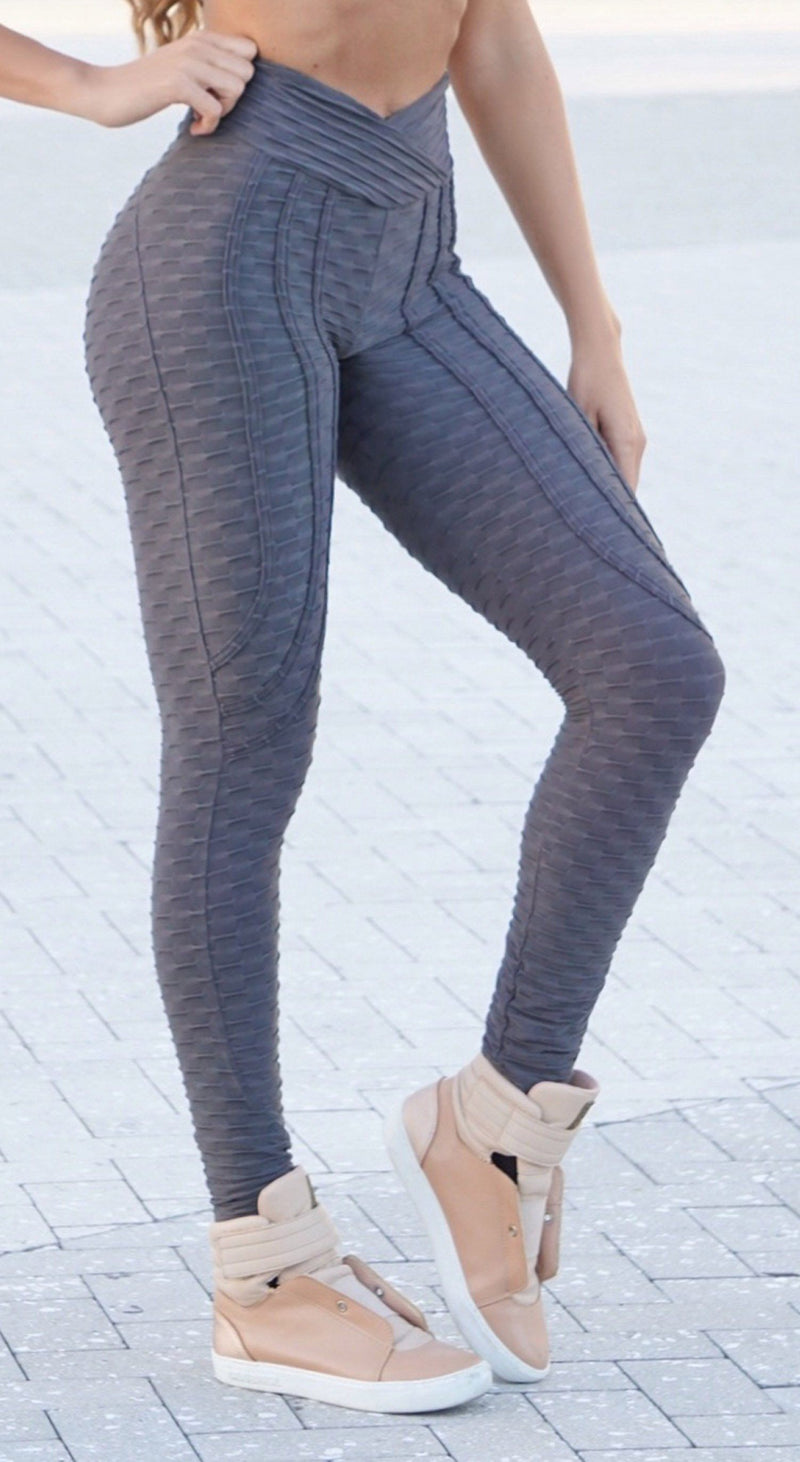 Brazilian Legging - High Waist Anti Cellulite Ultimate Booty Up Effect Dark Grey