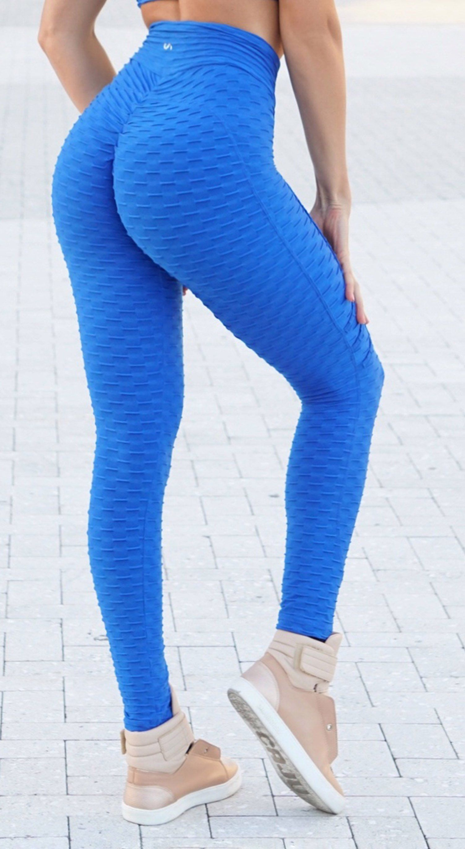Brazilian Legging - High Waist Anti Cellulite Ultimate Booty Up Effect Royal Blue
