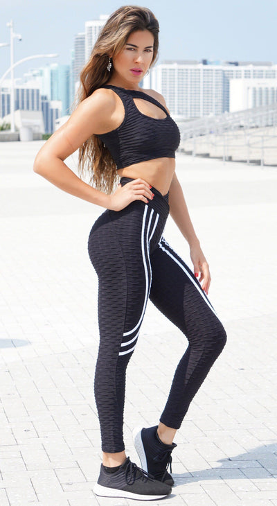 Brazilian Legging - High Waist Anti Cellulite Ultimate Booty Up Effect Black & White