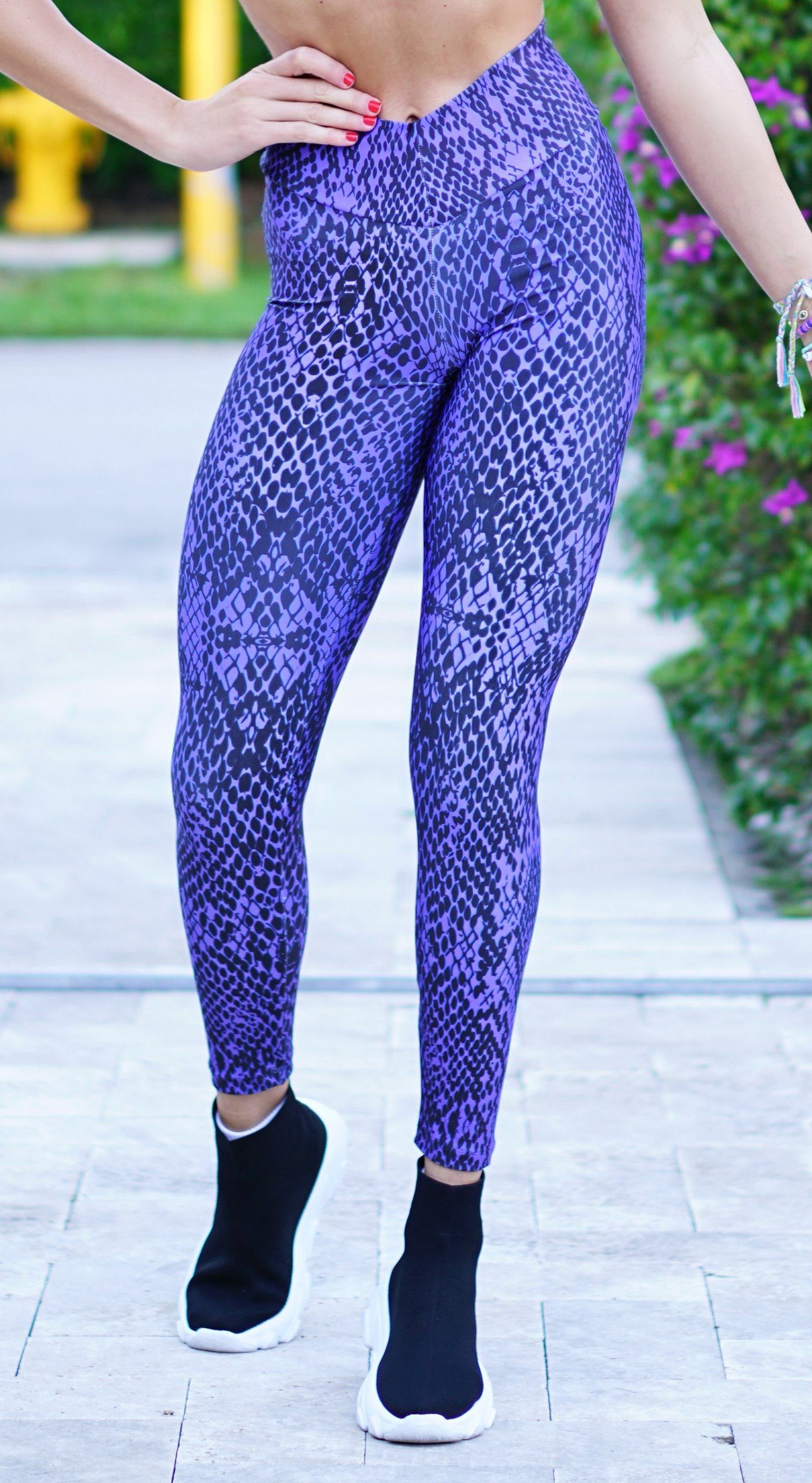 Brazilian Workout Leggings - High Waist Scrunch Booty Animal Print Purple
