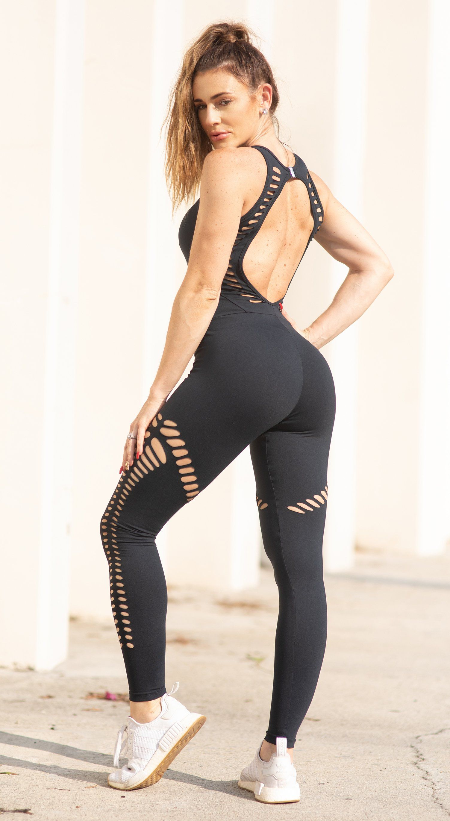 Brazilian Workout Jumpsuit - Malibu Fitness NZ Laser Black