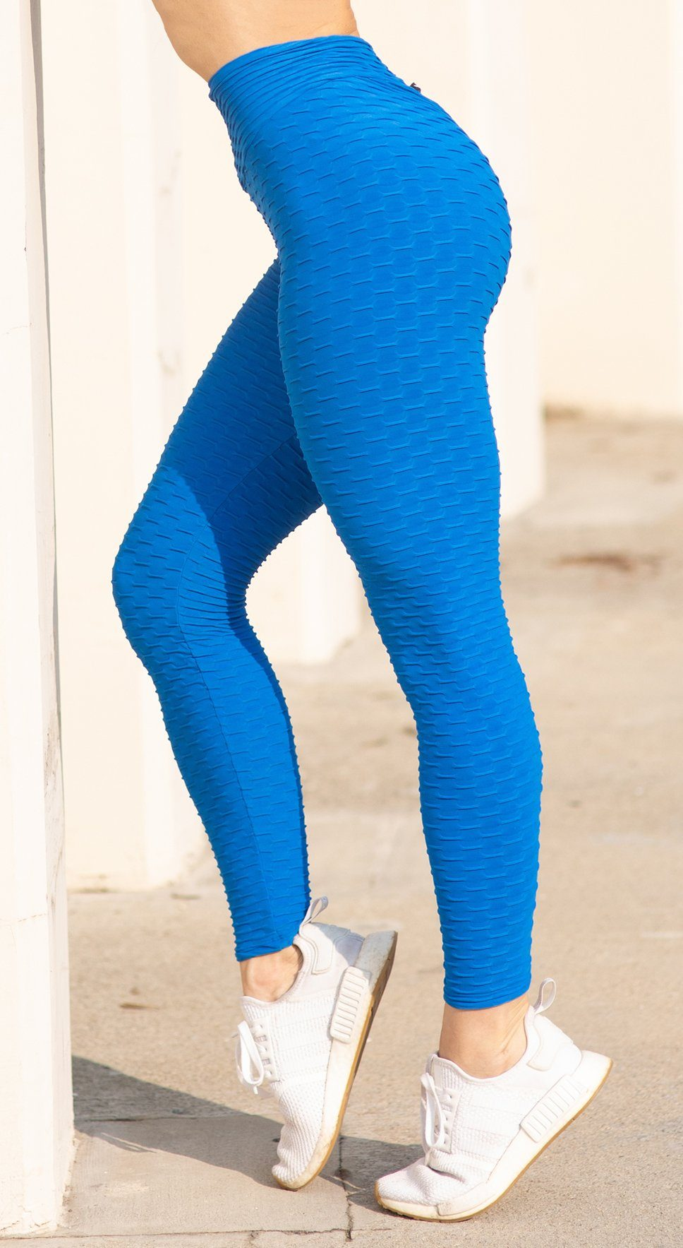 Anti Cellulite Honeycomb Textured Scrunch Booty Royal Blue Leggings
