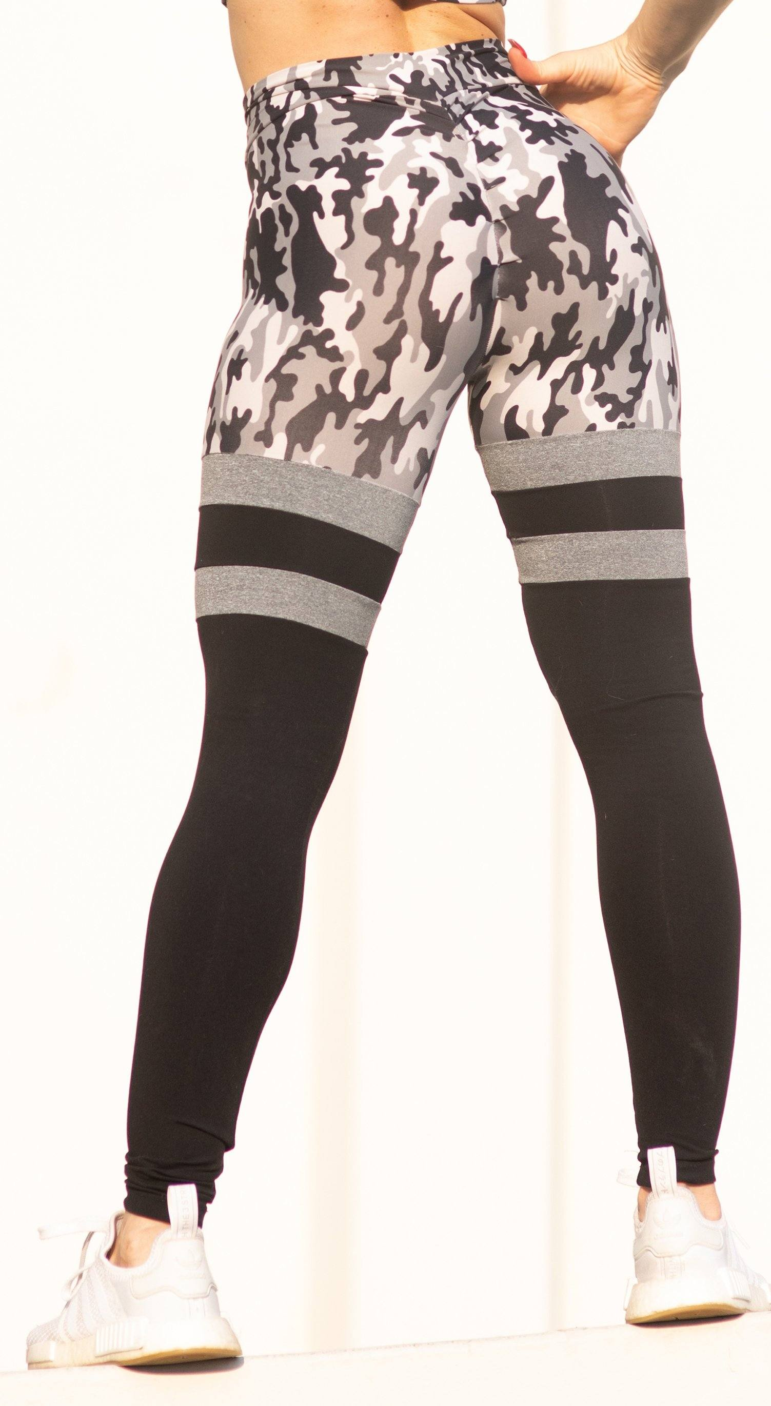 Brazilian Workout Legging - Scrunch Booty Socks Leggings Army  Gray