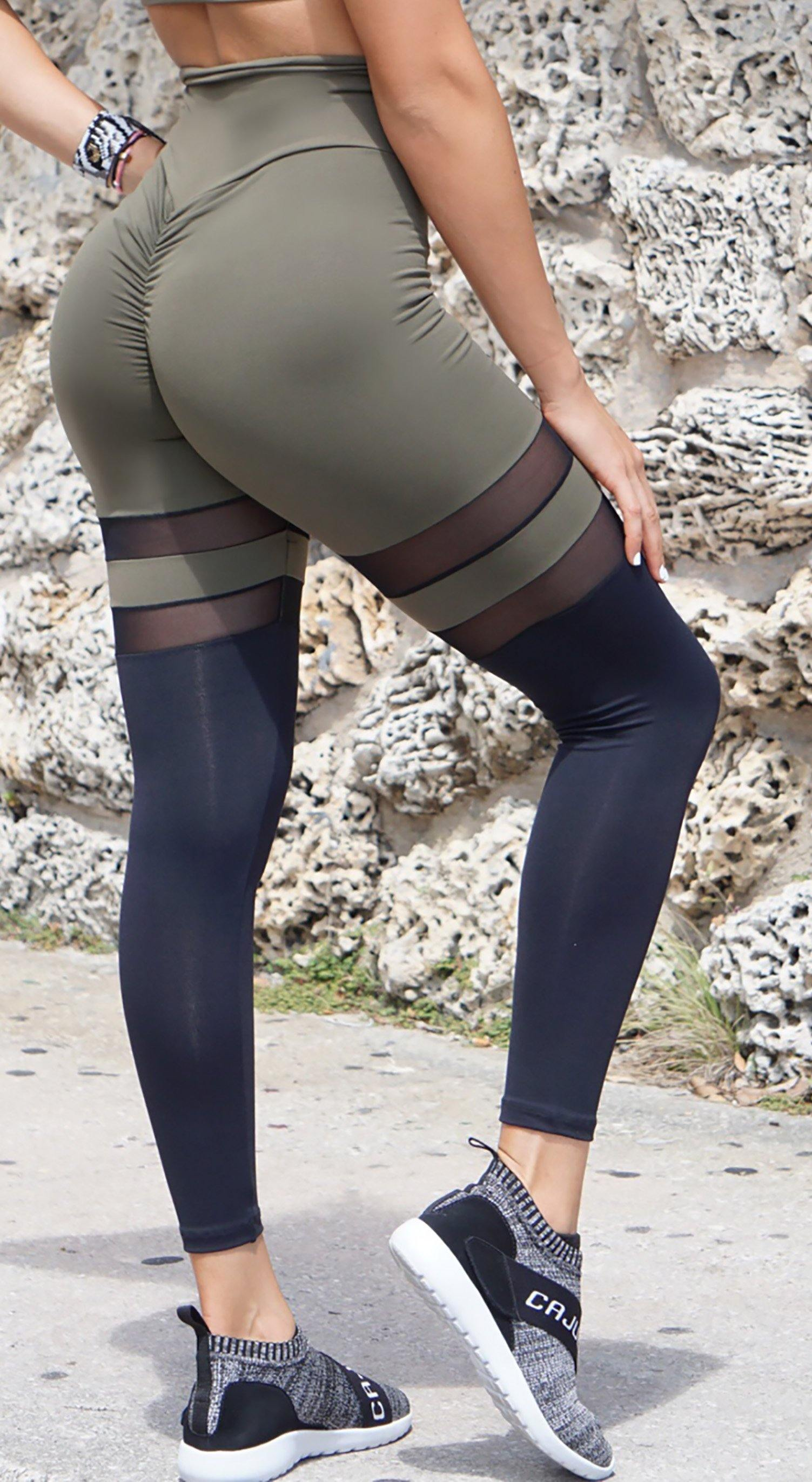 Brazilian Workout Legging - Scrunch Booty Socks Leggings Army Green & Black