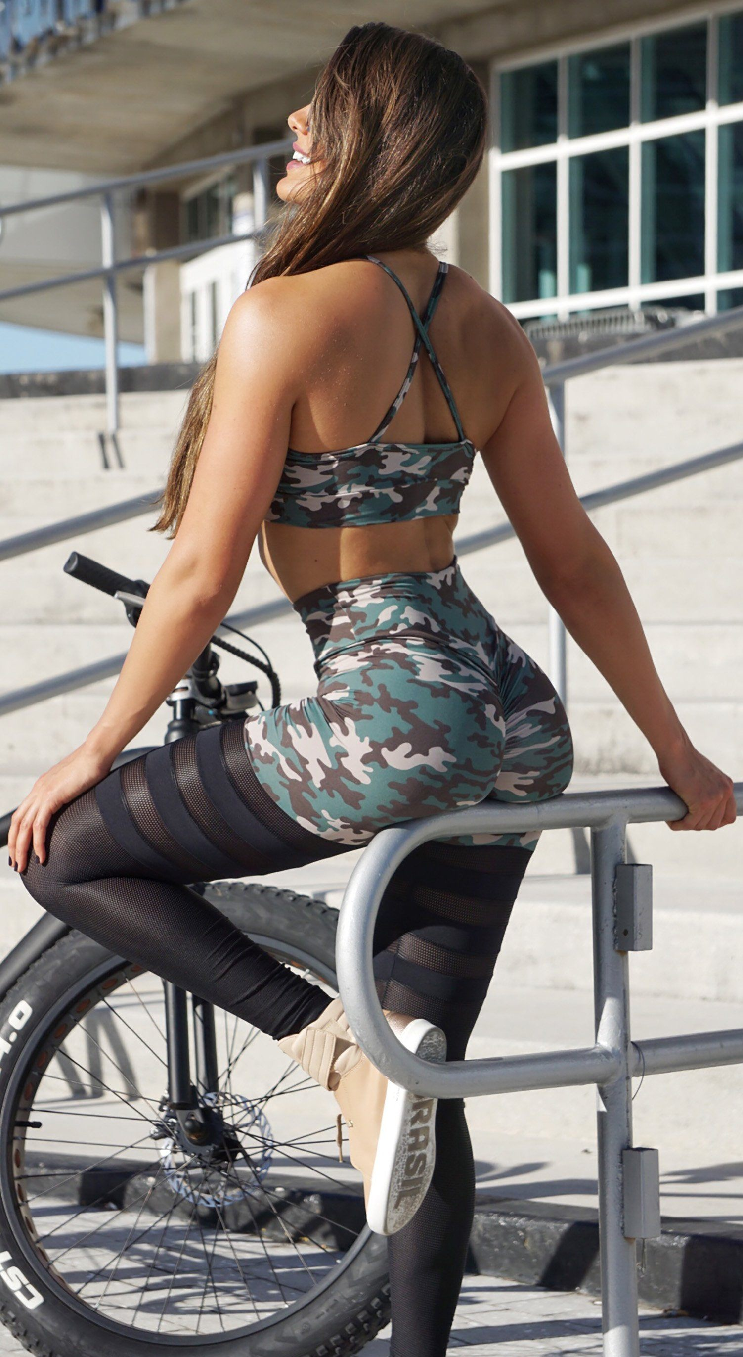 Sports Bra - Glamorous Stripes Army Print