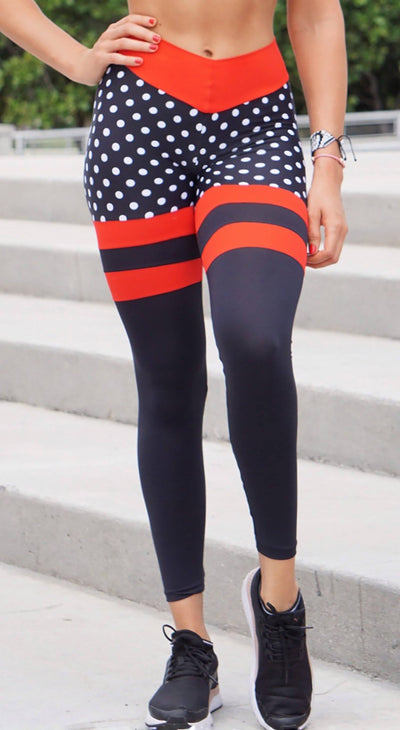 Scrunch Booty Socks Leggings Polka Dots Black & Red
