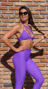 Sports Bra - Fashion Fit Stripes Purple