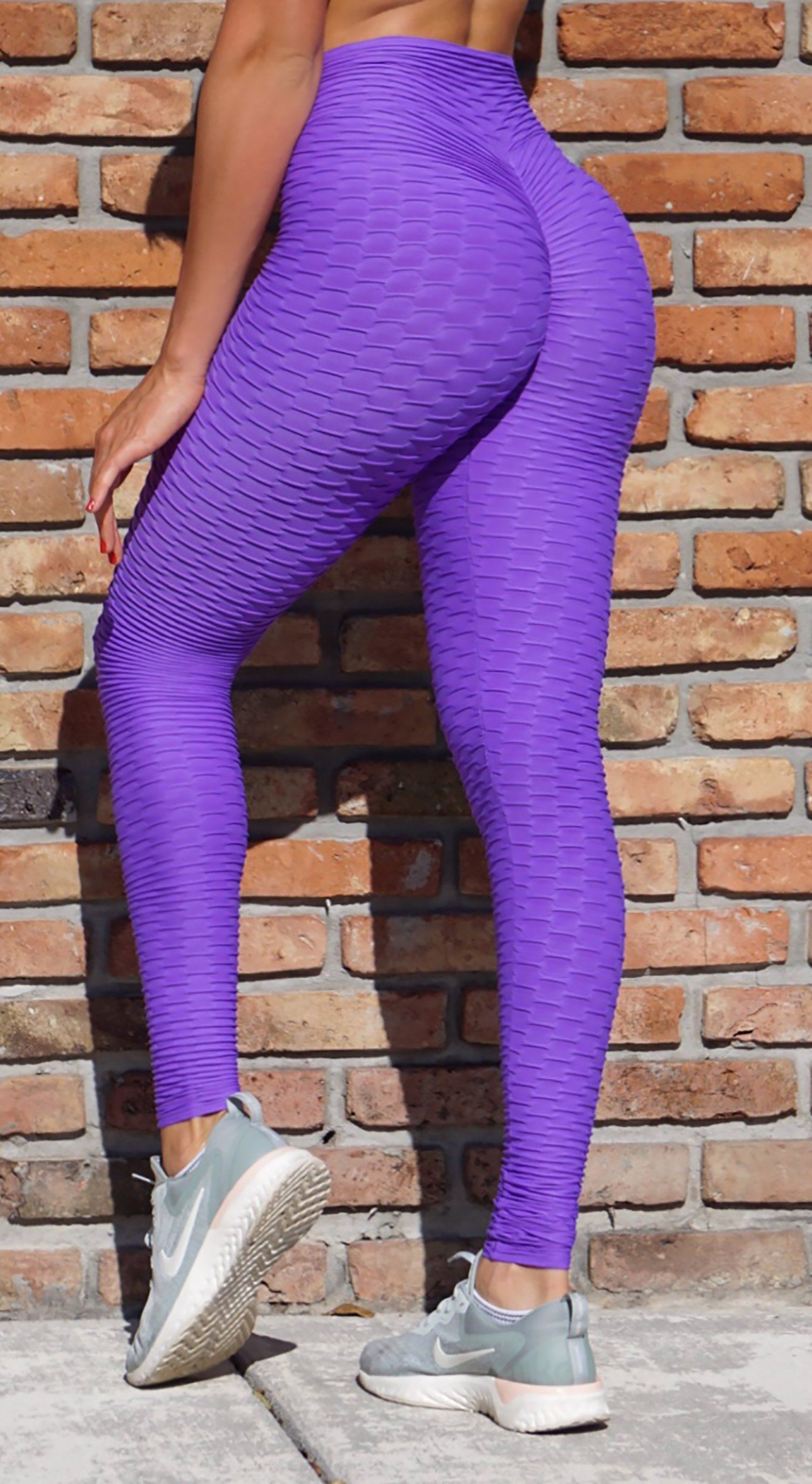 Anti Cellulite Textured Scrunch Booty Purple Leggings