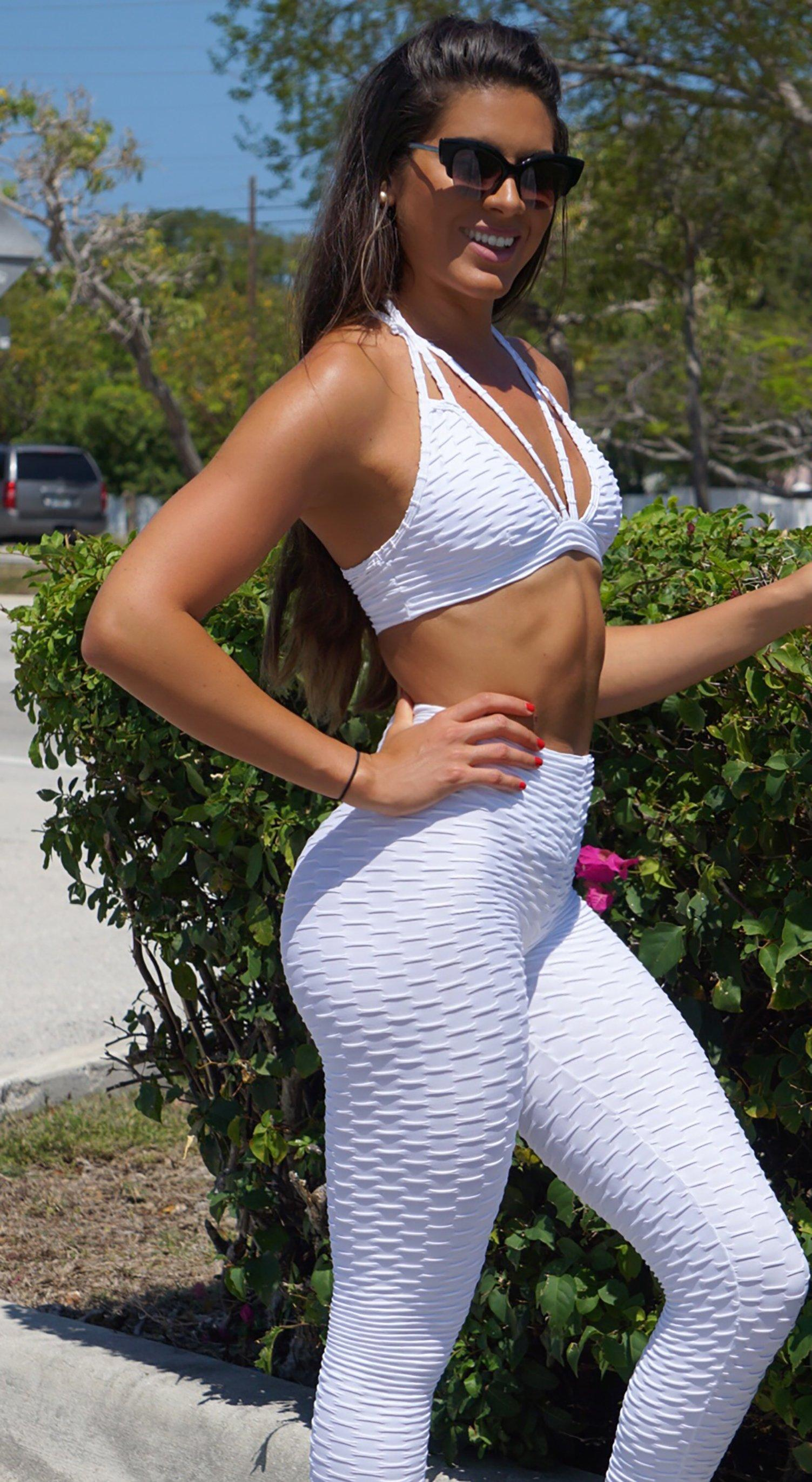 Sports Bra - Fashion Fit Stripes White