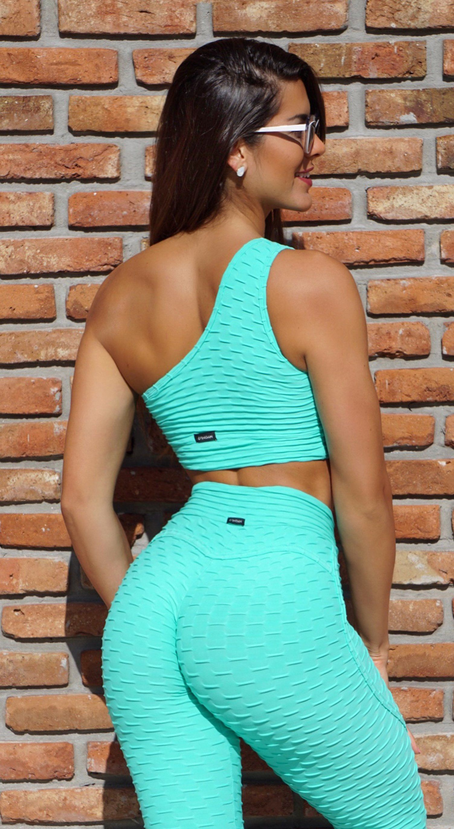Brazilian Sports Bra - Textured Cross Over Effect Mint