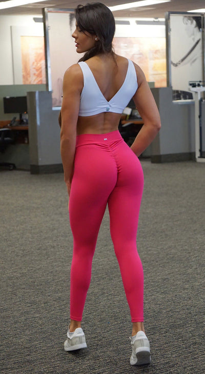 Brazilian Workout Legging - Scrunch Booty Lift! Compression Hot Pink